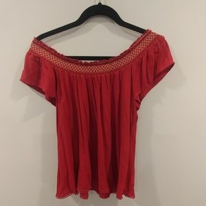 Beautiful red off the shoulder top.
